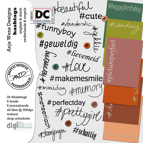 AWD | #hashtags | Digiscrap Dutch Choice nov/dec 2014