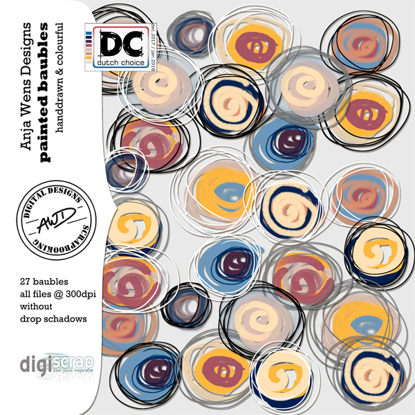 Painted Baubles | Element kit | Anja Wens Designs part of Dutch Chice December 2017 available at Digiscrap.nl