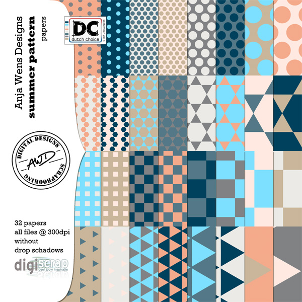 Summer Pattern | Papers | AWD | available @ digiscrap.nl